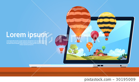 Modern Laptop Computer With Colorful Air Balloons 30195009