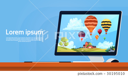 Modern Desktop Computer With Colorful Air Balloons 30195010