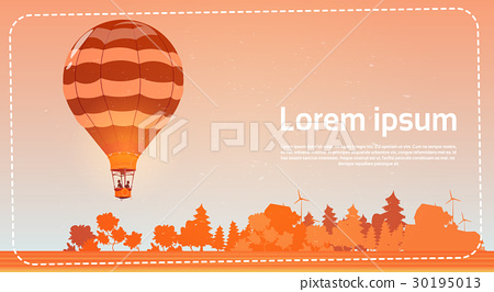 Colorful Air Balloon Flying In Sky At Sunset 30195013
