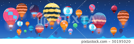 Colorful Air Balloons Flying In Night Sky Banner 30195020