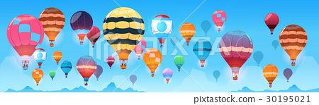 Colorful Air Balloons Flying In Day Sky Banner 30195021