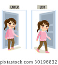 Girl Enter Exit Door 30196832