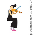 Musician playing violin isolated vector 30198557