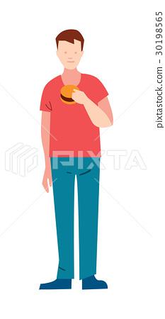 Slender Young Man With Hamburger Stock Illustration 30198565 Pixta