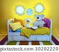 Childrens, toys, book, are, located, on, a, bed 30202220