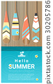 Hello summer background with paddle on wooden pier 30205786