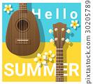Hello summer background with ukulele 30205789