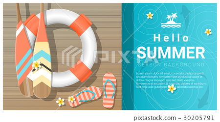 Hello summer background with wooden pier 30205791