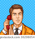 Pop art businessman talking on a retro phone and 30206054
