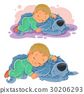 Vector small child falling asleep using his dog 30206293