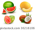 Collection of fruit and berries. Watermelon,  30216106