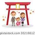 神社で七五三 三歳女児  30216612