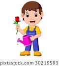 Cartoon gardener with watering can 30219593