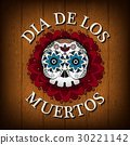 Day Of The Dead Skull Vector poster background 30221142