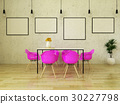Beautiful modern dining table with pink chairs 30227798