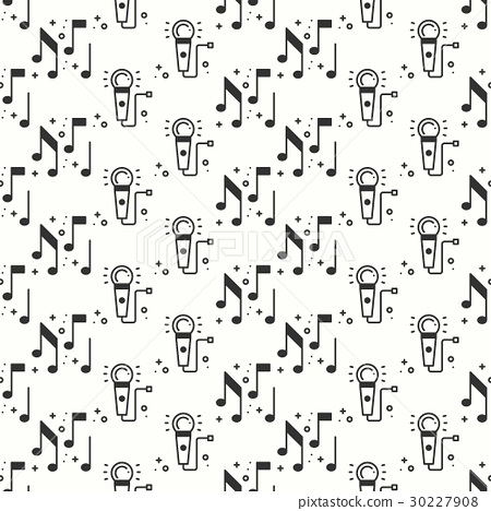 Karaoke seamless pattern. Microphone and notes 30227908