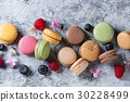Variety of french dessert macaroons 30228499