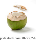 Thai coconut open top on white background. 30229756