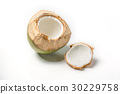 Thai coconut open top on white background. 30229758
