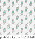 Seamless pattern with hand drawn doodle cups. 30231148