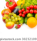 fruits and vegetables isolated on white 30232109