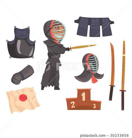 Japanese kendo sword martial arts fighter, armor 30233656