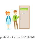 Boy And Girl In Front Of Classroom Door, Part Of 30234060