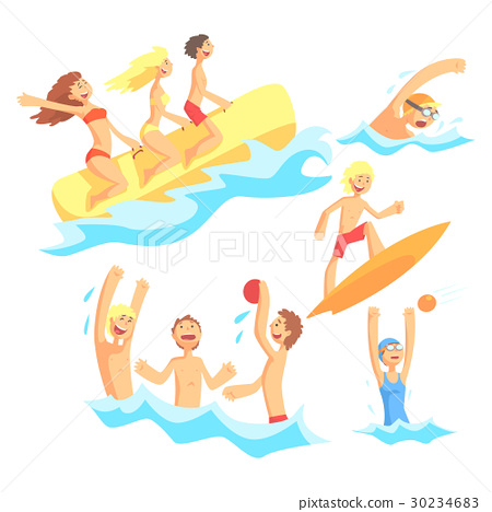 People On Summer Vacation At The Sea Playing And 30234683
