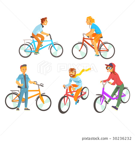 Cyclists riding bike set for label design 30236232