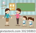 mother sending children to school 30236863