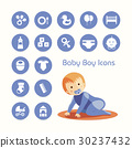 Baby boy crawling and icons set 30237432