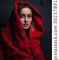 beautiful woman red cloak with red flowers roses  30237891
