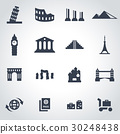 Vector black landmarks icon set 30248438