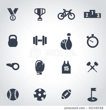 Vector black sport icon set 30248588