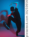 The silhouette of one hip hop male break dancer 30250656