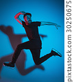 The silhouette of one hip hop male break dancer 30250675