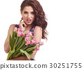 Sexy young woman with flowers. Attractive model with bouquet of 30251755