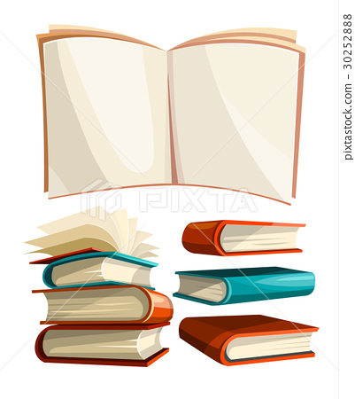 Big piles set of books with open pages spread 30252888