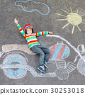 Little child in helmet with motorcycle picture 30253018
