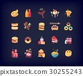 Set of vector flat fast food icons 30255243