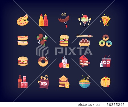 Set Of Vector Flat Fast Food Icons Stock Illustration