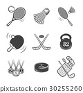 Collection of vector icons. Sport equipment. 30255260