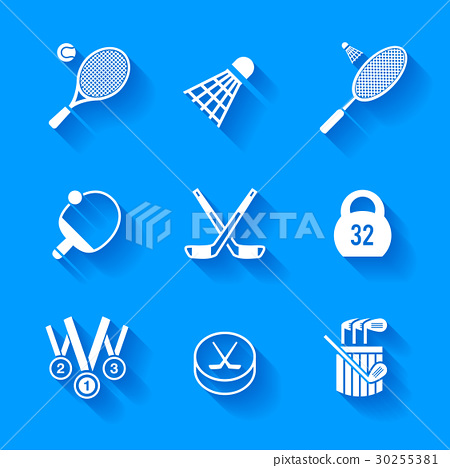 Set of white sports icons. 30255381