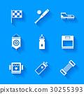 Set of white sports icons. 30255393