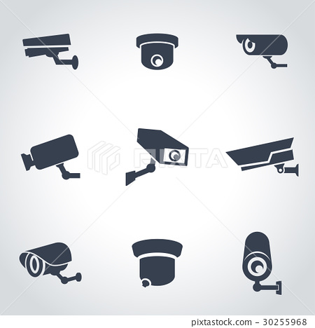 Vector black security camera icon set 30255968