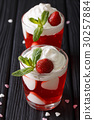 Strawberry jelly with whipped cream 30257884
