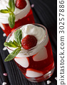 Festive strawberry jelly with whipped cream 30257886