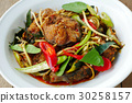 Spicy fried stir catfish  with chilli paste 30258157