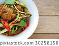Spicy fried stir catfish  with chilli paste 30258158