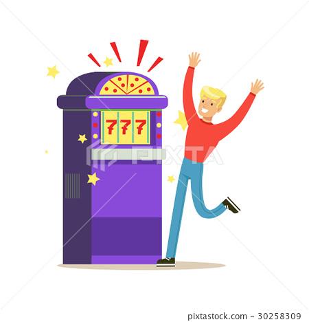Man winning jackpot at slot machine. Colorful 30258309